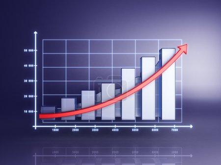 Photo pour Statistiques 3D abstraites, bénéfice des entreprises sur fond bleu - image libre de droit