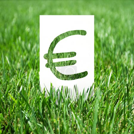 Photo for Paper with euro symbol on green grass - Royalty Free Image