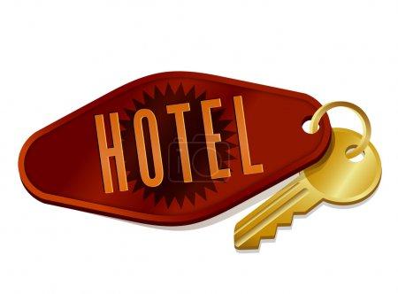 Illustration for Vintage hotel motel room key - Royalty Free Image
