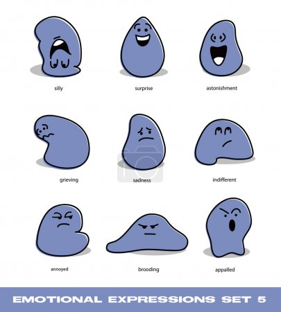 Vector emotional expressions set