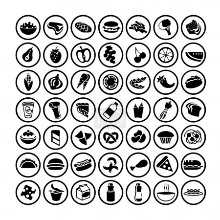 Illustration for Icons set of many food black and white - Royalty Free Image
