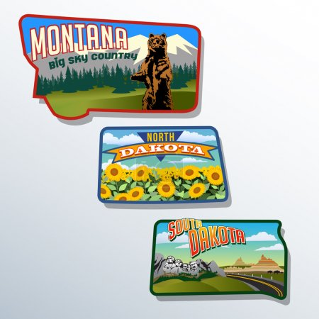 Retro state shape illustrations of Montana North Dakota and South Dakota
