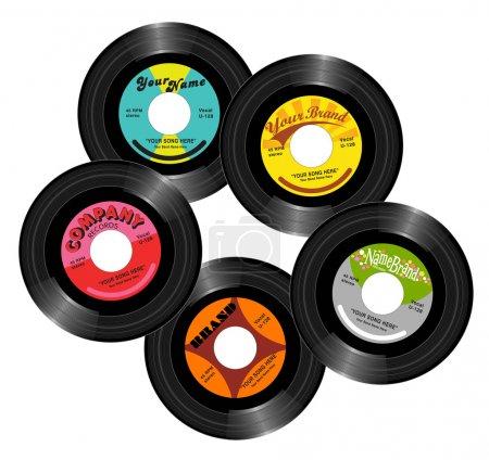 Vintage retro 45 record label designs