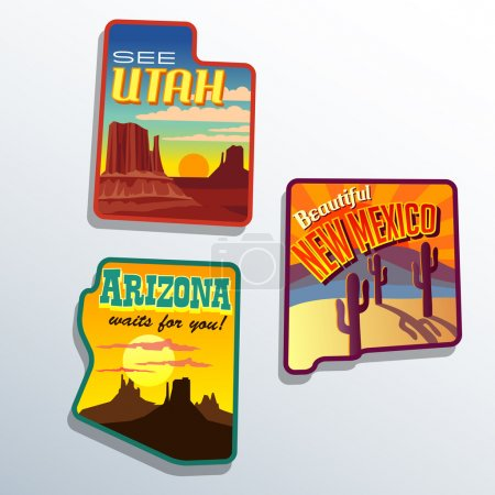 Southwest United States Arizona New Mexico Utah vector travel illustrations designs