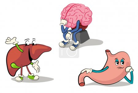Illustration for Illustrated character set of human internal organs 2 - Royalty Free Image