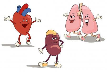 Illustration pour Jeu de caractères illustré d'organes internes humains jeu 1 - image libre de droit