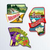 Arkansas Mississippi Louisiana retro luggage sticker designs