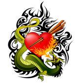 Dragon and heart tattoo design vector