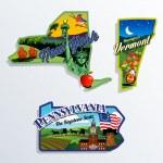 New York, Vermont and Pennsylvania scenic vector i...