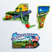 New York Vermont and Pennsylvania scenic vector illustrations