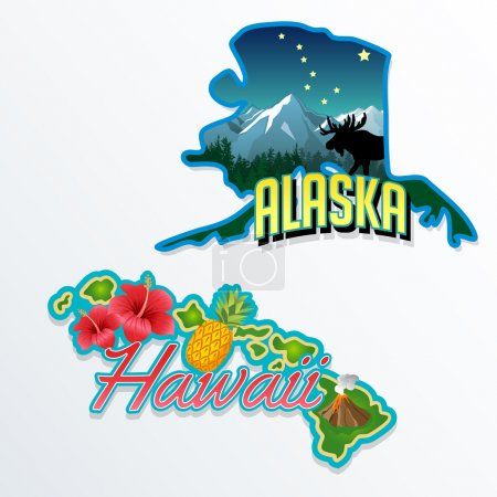Alaska, Hawaii retro state facts illustrations