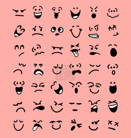 Big set of cartoon facial expressions