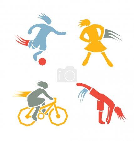 Illustration pour Sport actif enfants icônes exercice de fitness - image libre de droit