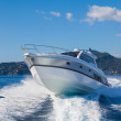 Motor boats in navigation, air view...