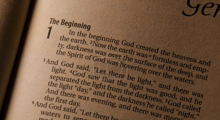 Photo for Holy Bible Gensis 1:1 mentioning about the creation of the world. - Royalty Free Image