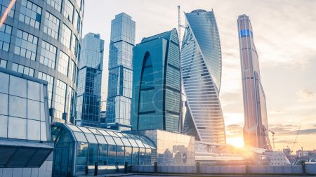 Photo for Beautiful evening view of famous skyscrapers in Moscow City international business center, Moscow, Russia - Royalty Free Image