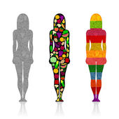 The silhouettes of the three slim girls with a pattern of fruit and vegetables on a white background