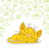 Ginger cat is sleeping