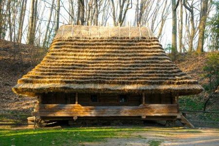 La antigua casa de pueblo en el bosque
