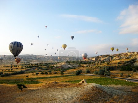 Panoramic view of hot air balloons in Cappadocia Turkey