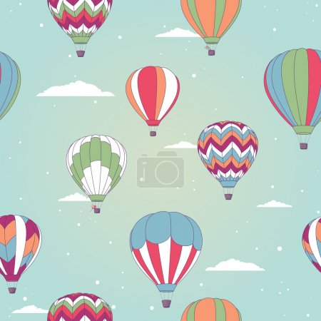 Illustration for Vector seamless pattern with hot air balloons - Royalty Free Image