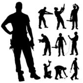 Vector silhouette of a man working with tools on a white background