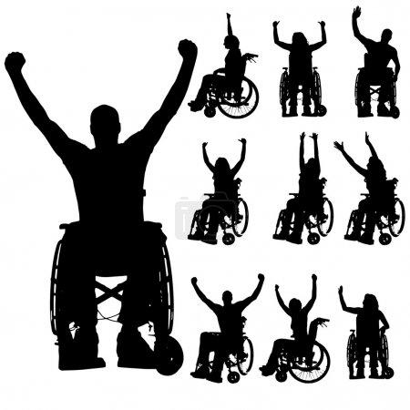 Illustration pour Silhouettes vectorielles de personnes en fauteuil roulant sur fond blanc . - image libre de droit