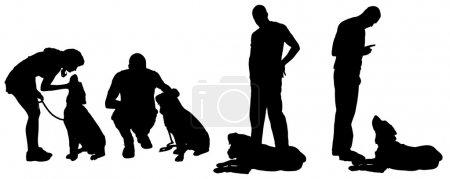 Vektorsilhouette eines Mannes mit Hund.