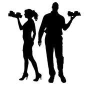Vector waiter silhouette