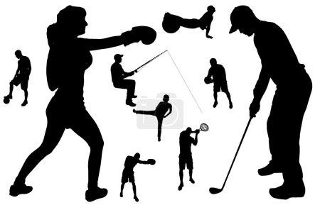 Illustration pour Silhouette vectorielle de personnes dans divers sports . - image libre de droit