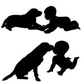 Vector silhouette of a toddler with dog