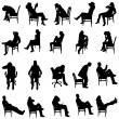 Vector silhouette of people sitting on a white bac...
