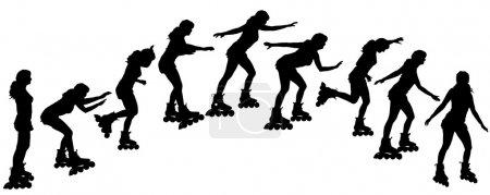 Silhouette vectorielle d'une femme sur patins à roulettes .