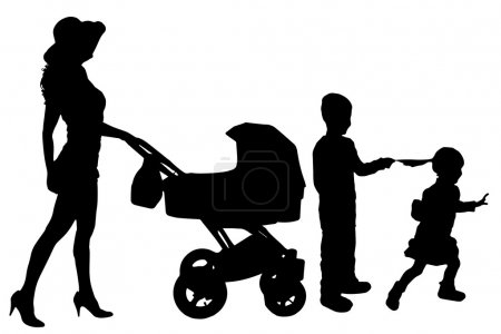 Vector silhouette of a woman with a pram.