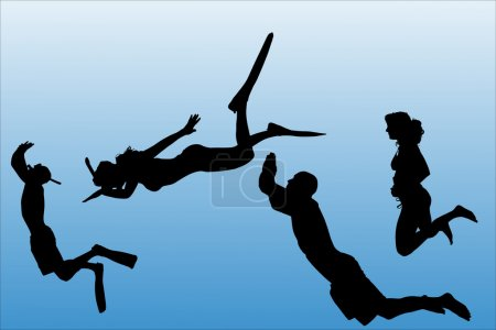 Vector silhouette of people who swim on a white ba...