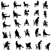 Vector silhouettes of people sitting in a chair