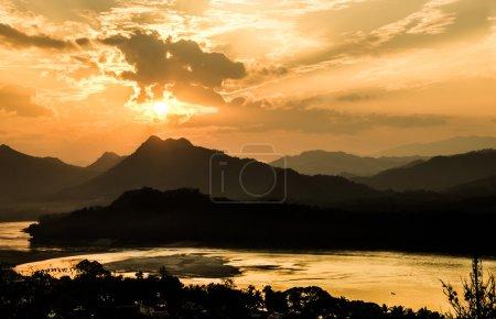 Mekong River at Sunset - Luang Prabang, Laos