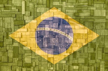 Brazilian Flag on a wooden Background