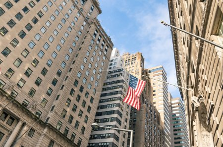 American Flag at Wall Street - New York financial District
