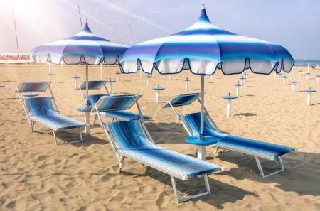 Parasols and sunbeds at Rimini Beach - Italian Summer