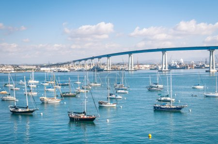 San Diego waterfront with sailing Boats - Indutrial harbor and C