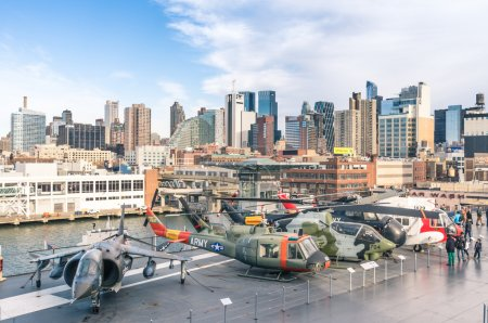 NEW YORK CITY - NOVEMBER 23, 2013: Military jets and helicopters in the navy ship USS Intrepid. Decommissioned in 1974, in 1982 Intrepid became the foundation of the Intrepid Sea, Air & Space Museum