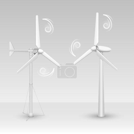 Illustration pour Vecteurs isolés par éoliennes. Deux types d'éoliennes . - image libre de droit