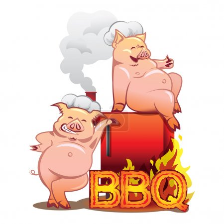 Two funny pigs near the red smoker