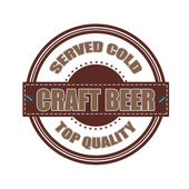 Craft beer grunge stamp whit on vector illustration