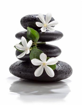 Tiare flowers, black stone spa