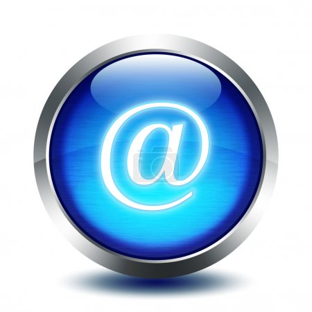 Blu glass button - e-mail