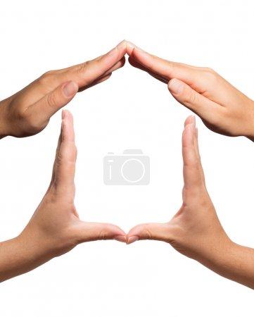 Photo pour Symbole maison fit un geste des mains - image libre de droit