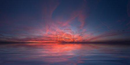 Photo pour Paix dans le ciel rouge - coucher de soleil sur la mer - image libre de droit