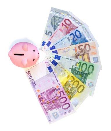 Piggibank on euro banknotes